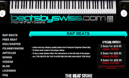 Screenshots of BeatsBySwiss.com