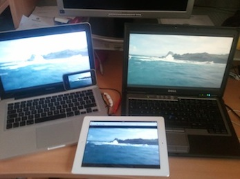 Mac, PC, Android phone and iPad playing live video synchronously