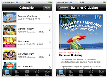 Screenshots of Loft Club iPhone app