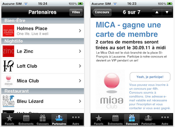 Screenshots of MyCityMag iPhone app