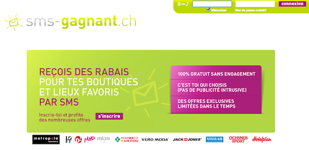Screenshots of SMS-gagnant.ch